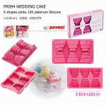 FR094 Wedding Cake 6 shapes pinks 100 platinum Silicone