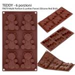 FR079 Multi Portion 6 cavities Pavoni Silicone Red Brick