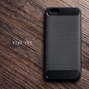 เคส Vivo Y53 เคสนิ่มเกรดพรีเมี่ยม (Texture ลายโลหะขัด) กันลื่น ลดรอยนิ้วมือ สีดำ