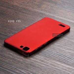 เคส Vivo Y35 เคสแข็งสีเรียบ คลุมขอบ 4 ด้าน สีแดง