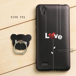 เคส Vivo Y31 เคสนิ่ม TPU พิมพ์ลายนูน (ขอบดำ) + แหวนมือถือ แบบที่ 3 LOVE