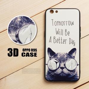 เคส OPPO R9s เคสนิ่ม TPU พิมพ์ลาย 3D (ขอบดำ) แบบที่ 6 Tomorrow Will Be A Better Day (Cat)