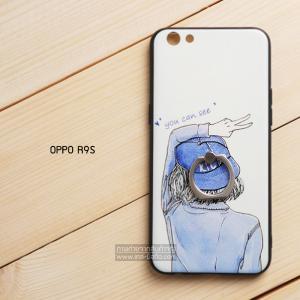 เคส OPPO R9s เคสขอบนิ่ม 3D TPU พิมพ์ลายนูน (ขอบดำ) + แหวนมือถือ แบบที่ 2 You can see