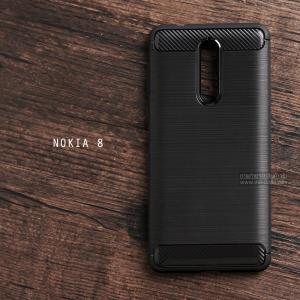 เคส Nokia 8 เคสนิ่มเกรดพรีเมี่ยม (Texture ลายโลหะขัด) กันลื่น ลดรอยนิ้วมือ สีดำ
