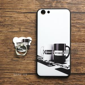 เคส OPPO F3 / OPPO A77 เคสนิ่ม TPU พิมพ์ลายนูน (ขอบดำ) + แหวนมือถือ แบบที่ 4