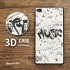 เคส Huawei P8 เคสนิ่ม TPU พิมพ์ลาย 3D แบบที่ 3 (ขอบดำ) MUSIC