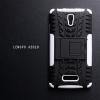 เคส Lenovo A2010 (TRUE Lenovo 4G A2010) กรอบบั๊มเปอร์ กันกระแทก Defender สีขาว (เป็นขาตั้งได้)