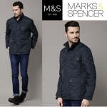 Marks & Spencer Navy Quilted Tailored Fit Jacket