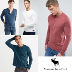 Abercrombie & Fitch Garment Dye Henley Long Sleeve T-Shirt