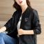เสื้อแจ็คเก็ต เสื้อหนังแฟชั่น พร้อมส่ง สีดำ คอจีน หนัง PU เย็บทับด้วยผ้ามุ้งด้านนอกเก๋ thumbnail 4