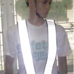 เสื้อสะท้อนแสงแบบสายคาด PVC สะท้อนแสงสีขาว