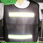 เสื้อจราจรสะท้อนแสงตาข่ายสีดำติดแถบผ้าสะท้อนแสง