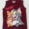 H&M : เสื้อกล้าม Tom&Jerry สีแดงเลือดหมู size 6-8y
