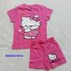 Hello Kitty : set เสื้อ+กางเกงขาสั้น สกรีนลาย Kitty สีชมพูเข้ม size 1-2y