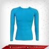 เสื้อรัดรูป Bodyfit แขนยาวคอกลม สีฟ้า Aqua