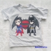H&M : เสื้อยืด สกรีนลาย Batman&Superman สีเทา size : 8-10y