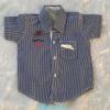 ZARA Kids : เสื้อเชิ๊ตแขนสั้น ปักหนวด สีน้ำเงิน Size : 1-2y / 3-4y / 5-6y / 6-7y / 7-8y / 8-9y