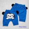 Aime'e : กางเกงทรง 3 ส่วน สกรีนลาย น้องลิง สีฟ้า ด้านหลัง เนื้อผ้า cotton นิ่ม งานไทยสไตล์เกาหลี