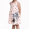 H&M : เดรสสีชมพู ลายจุด สกรีนรูปแมวเหมียว (งานช้อป) size : 1-2y / 10-12y / 12-14y