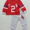 POLO : Set เสื้อแขนยาว+กางเกงขายาว สีแดง-เทา สกรีนม้าโปโล เลข 2 ตัวโต Size : 1y