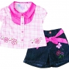 Baby Q : ชุดเสื้อแขนสั้นลายตารางสีชมพูปักดอกไม้ size 3T