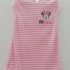 Disney : ชุดนอน ผ้า cotton ยืด สีชมพู ลายขวาง ปักรูปมินนี่ Size 12-18m