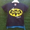 เสื้อยืดสีกรม สกรีนลาย Batman ด้านหลังมีผ้าคลุมสีฟ้า ถอดออกได้ size : 90
