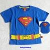 Marvel : เสื้อยืด Super man สีน้ำเงิน ตรงตัว S มีช่องใส่ของเล็กๆได้ size L (6-7y) / XL (8-9y)