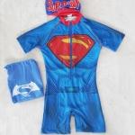 ชุดว่ายน้ำบอดี้สูทลาย Superman สีน้ำเงิน ซิปหน้า พร้อมหมวกและ ถุงผ้า Size : S (4-5y)
