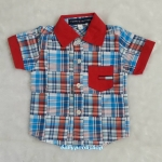 TOMMY : เชิ๊ตลายสก็อต สีฟ้า ปกแดง ผ้านิ่ม size 1