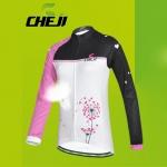 เสื้อจักรยานผู้หญิงแขนยาว CheJi สีขาวดำชมพู