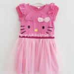 H&M : เดรสคิตตี้ กระโปรงผ้ามุ้ง ตัวเสื้อสีชมพูเข้ม (งานติดป้ายผิดไซส์) size 1-2y / 8-10y