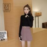 Nov TOP เสื้อยืดแขนยาว ผ้าไหมพรม สไตล์เกาหลีสุดๆเลย