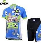 ชุดจักรยานเด็กแขนสั้นขาสั้น CheJi สีฟ้าลายการ์ตูน