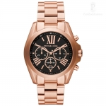 นาฬิกาข้อมือ Michael Kors MK5854 Michael Kors Bradshaw Rose Tone Black Dial Chronograph Watch MK5854 Size 43 mm