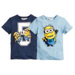 H&M : เสื้อยืดแขนสั้นสกรีนลาย Minion (งานช้อป) สีฟ้า / ตัวขวา Size : 8-10y