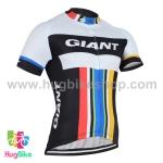 เสื้อจักรยานแขนสั้นทีม Giant 2016 (02) สีขาวดำแถบแดงฟ้าเหลือง