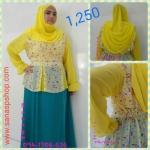 ชุดมุสลิมสีเหลือง +กระโปรงผ้าซาติน ฟรี ฮิญาบ!!