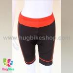 กางเกงจักรยานผู้หญิงขาสั้น CheJi 15 (06) สีดำแถบส้ม (เป้า CoolMax)