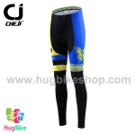 กางเกงจักรยานผู้หญิงขายาว CheJi 15 (10) สีเหลืองน้ำเงิน ลายผีเสื้อ