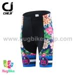 กางเกงจักรยานผู้หญิงขาสั้น CheJi 16 (01) สีน้าเงิน ลายดอกไม้ Recing is life
