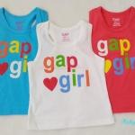 GAP : เสื้อกล้ามติดโลโก้ gap girl เนื้อผ้าเด้งนิดๆ นิ่มค่ะ สีฟ้า ขาว แดงออกส้ม