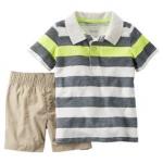 Carter's : ชุดเซ็ท เสื้อโปโล ลายขวางสีเทา เขียว พร้อม กางเกง ขาสั้น สีครีม size 2T