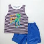 Baby Q : ชุดเสื้อกล้ามลายริ้วสีม่วง สกรีนลายไดโนเสาร์
