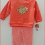 Carter's : ชุดเซ็ท เสื้อแขนยาวผ้าสำลีสีส้มปักลิงน้อยติดโบว์พร้อมกางเกงเลกกิ้ง size : 12m