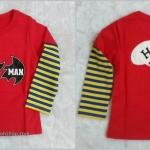 **CISI** เสื้้อยืดสรีนลายแบทแมน สีแดง แขนยาว size 110