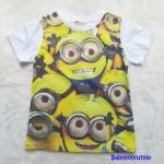 H&M : เสื้อยืด ลาย มินเนียน เต็มตัว สีเหลือง size : 8-10y / 10-12y