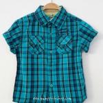 OSHKOSH : เสื้อเชิ๊ตแขนสั้น สีฟ้า เขียว size 3T