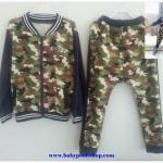 ชุดเซ็ทกันหนาวลายทหาร เสื้อกันหนาวพร้อมกางเกงขายาว ผ้าหนา ใส่อุ่นๆ size 100