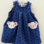 Carter's : ชุดเดรสเด็กแขนกุดผ้าสำลีขูดขนสีน้ำเงินปักรูปน้องหมี 2 ข้าง